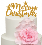 Merry Christmas words with Stars Acrylic Cake Topper